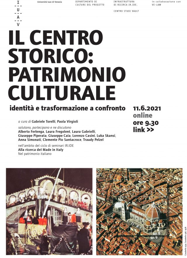 Seminario 11 giugno. Il centro storico: patrimonio culturale. Identità e trasformazione a confronto